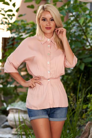 Világos rózsaszín háromnegyedes ujjú galléros derékban rugalmas casual női ing