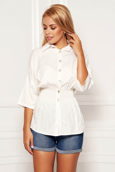 Fehér háromnegyedes ujjú galléros derékban rugalmas casual női ing