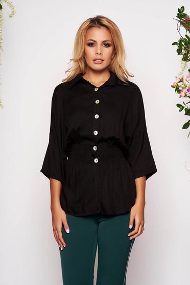 Fekete háromnegyedes ujjú galléros derékban rugalmas casual női ing