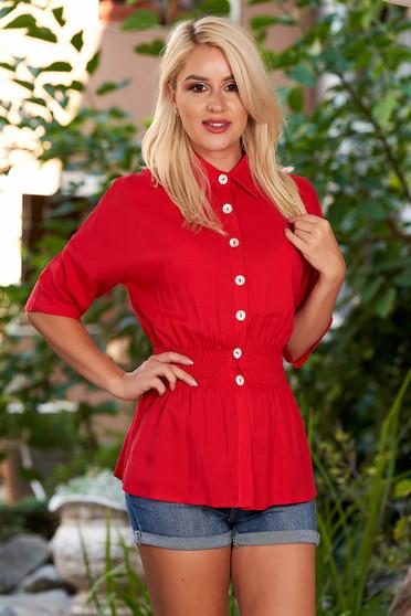 Piros háromnegyedes ujjú galléros derékban rugalmas casual női ing