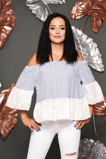 Sötétkék casual pamutból készült rövid női blúz harang ujjakkal