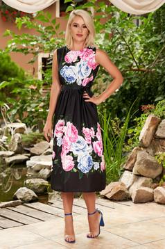 Fekete virágmintás ujj nélküli midi harang ruha eltávolítható öv