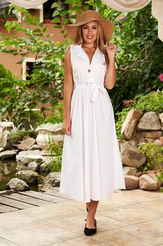 Fehér ruha hétköznapi pamutból készült midi harang derékban rugalmas eltávolítható öv