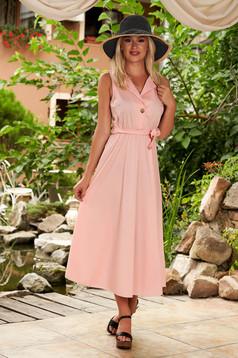 Rózsaszínű ruha hétköznapi pamutból készült midi harang derékban rugalmas eltávolítható öv