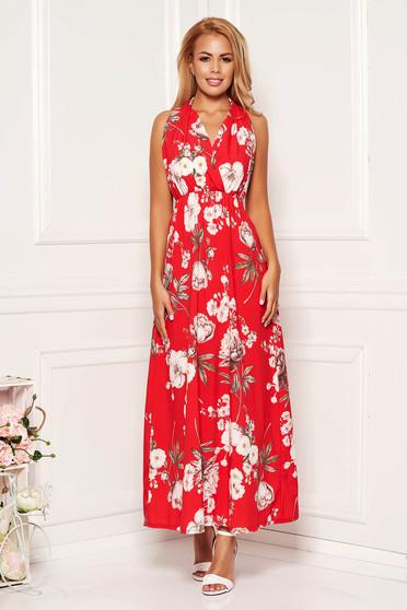 Piros hétköznapi virágmintás harang ujjatlan derékban rugalmas ruha teljesen kivágott hátrésszel