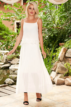 Fehér bő szabású pántos rakott, pliszírozott midi hétköznapi ruha muszlinból