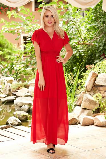 Piros ruha hétköznapi maxi ruhák muszlinból mély dekoltázs fodrok a dekoltázs vonalánál