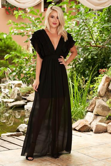 Fekete egyenes maxi ruha muszlinból mély dekoltázzsal