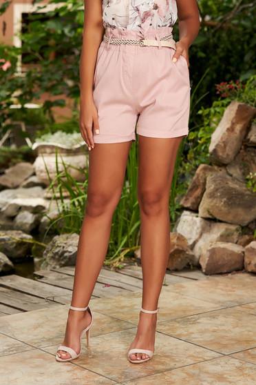 Világos rózsaszín casual magas derekú pamutból készült zsebes bő szabású rövidnadrág