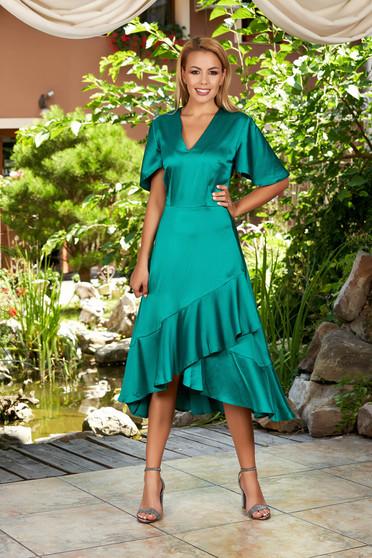 Zöld hétköznapi midi aszimetrikus ruha pillangó típusú ujjakkal fodrok a ruha alján v-dekoltázzsal szaténból