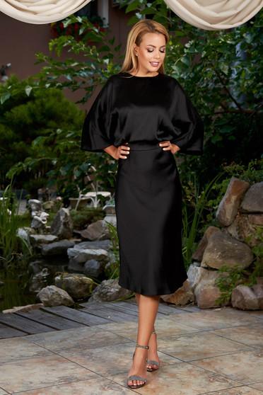 Fekete elegáns hétköznapi midi bő ujjú harang ruha szaténból kivágott hátrésszel