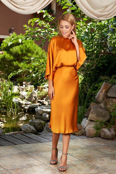 Mustar elegáns hétköznapi midi bő ujjú harang ruha szaténból kivágott hátrésszel