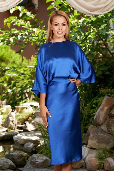 Kék elegáns hétköznapi midi bő ujjú harang ruha szaténból kivágott hátrésszel
