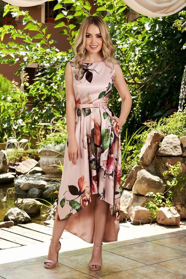 Világos rózsaszín alkalmi virágmintás ujj nélküli midi aszimetrikus ruha kerekített dekoltázssal