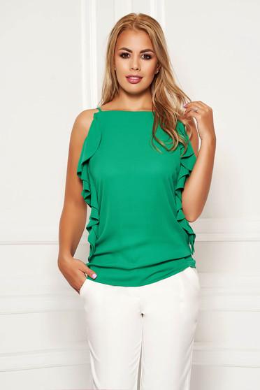 Zöld elegáns bő szabású pántos fodros női blúz