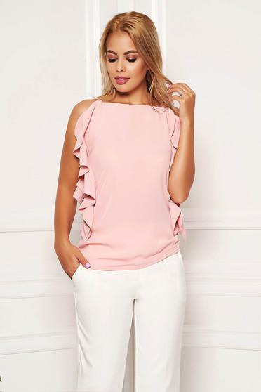Világos rózsaszín elegáns bő szabású pántos fodros női blúz