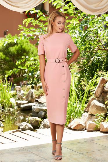 Világos rózsaszín hétköznapi elegáns midi ceruza ruha