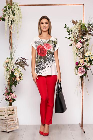 Piros elegáns virágmintás két részes női kosztüm nadrággal pamutból
