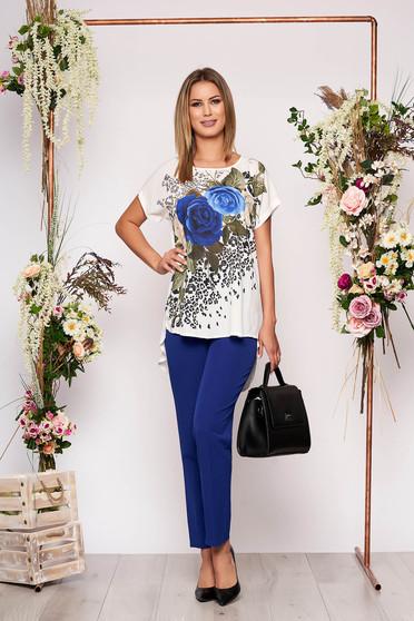 Kék elegáns virágmintás két részes női kosztüm nadrággal pamutból