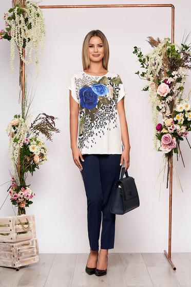 Sötétkék elegáns virágmintás két részes női kosztüm nadrággal pamutból