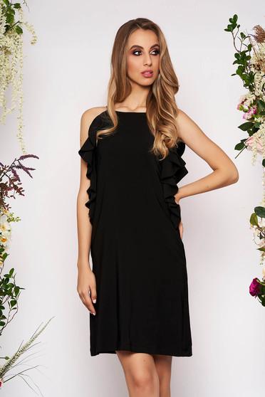 Fekete hétköznapi rövid a-vonalú zsebes fodros ruha kerekített dekoltázssal