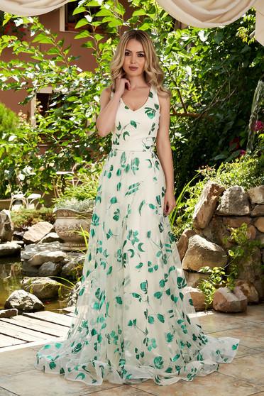 Zöld virágmintás mellrésznél szivacsos alkalmi hosszú ruha tüllből