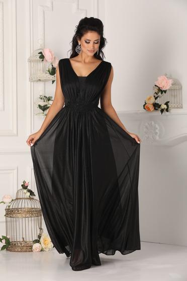 Fekete alkalmi harang mellrésznél szivacsos ruha v-dekoltázzsal muszlinból