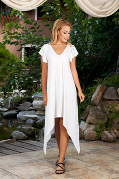 Fehér StarShinerS ruha hétköznapi aszimetrikus midi bő szabású v-dekoltázzsal fodros ujjakkal