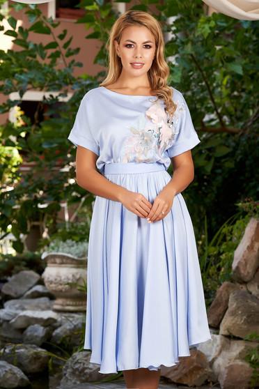 Kék StarShinerS alkalmi harang ruha derékban rugalmas övvel ellátva