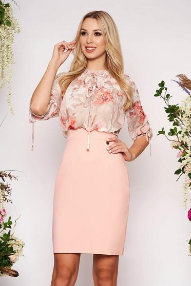 Világos rózsaszín hétköznapi virágmintás midi háromnegyedes ujjú ceruza ruha muszlinból