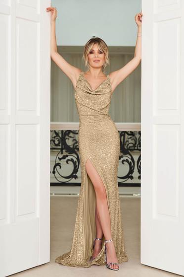 Arany StarShinerS alkalmi szirén tipusú szűk szabású flitteres dekoltált pántos ruha