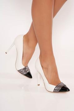 Ivory elegáns valódi bőrből készült magassarkú cipő enyhén hegyes orral