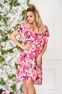 Pink StarShinerS hétköznapi rövid a-vonalú virágmintás ruha pillangó típusú ujjakkal