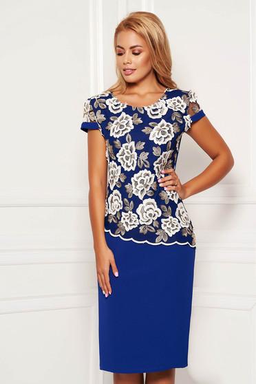 Kék elegáns rövid ujjú midi ceruza ruha csipkés átfedéssel