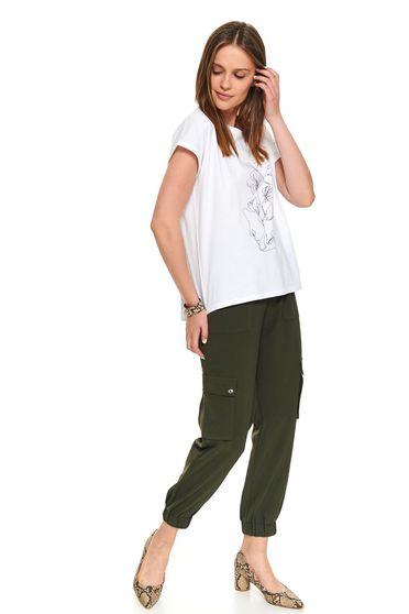 Fehér casual rövid pamutból készült póló grafikai díszítéssel kerekített dekoltázssal