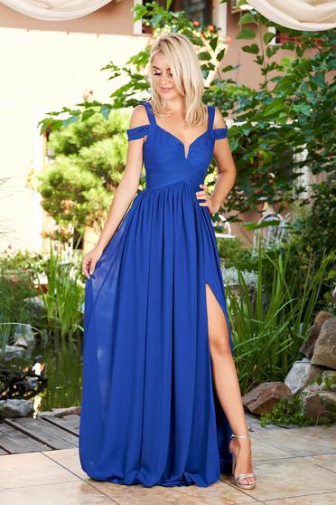 Kék alkalmi elől kivágott hosszú pántos ruha muszlinból béléssel