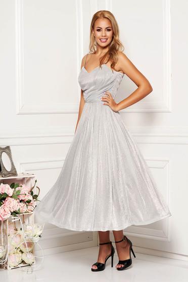 Ezüst pántos ruha szivacsos, push-up-os mellrésszel béléssel fényes anyagból