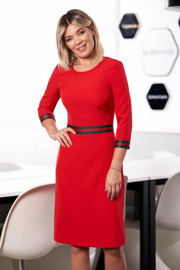 Piros StarShinerS irodai midi a-vonalú ruha pólónyakkal háromnegyedes ujjakkal béléssel