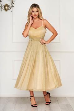 Arany pántos ruha szivacsos, push-up-os mellrész béléssel fényes anyag