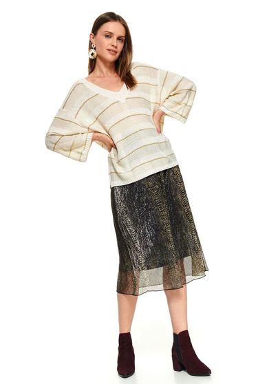 Barackvirágszínű casual rövid bő szabású kötött pamutból készült pulóver v-dekoltázzsal