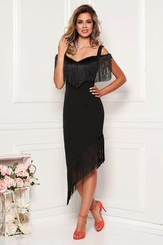 Fekete alkalmi elegáns aszimetrikus rojtos pántos ceruza ruha