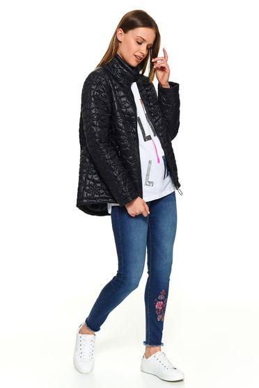 Fekete rövid bő szabású casual zsebes magas nyakú dzseki hosszú ujjakkal