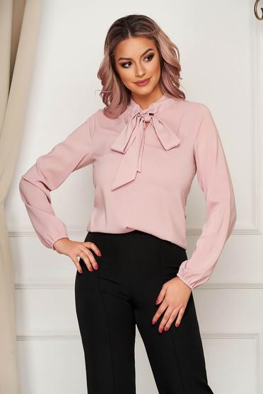 Púder rózsaszínű StarShinerS elegáns bő szabású női blúz muszlinból kendő jellegű gallér