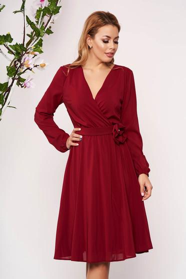Burgundy StarShinerS alkalmi gumírozott derekú midi harang ruha szellős anyagból hosszú ujjakkal