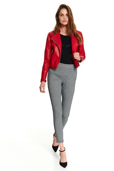 Piros casual cipzárral zárható dzseki műbőrből hosszú ujjakkal