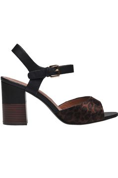 Fekete állatmintás casual cipő vastag sarokkal műbőrből