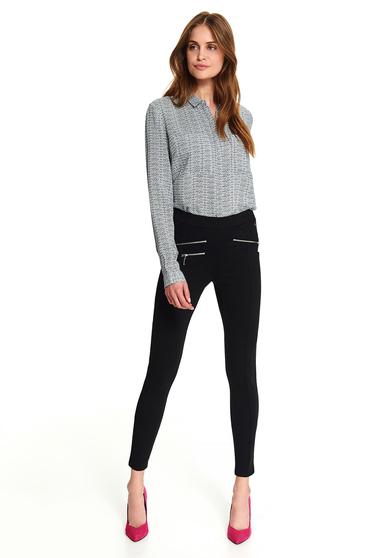 Fekete casual hosszú szűk szabású leggings cipzárral