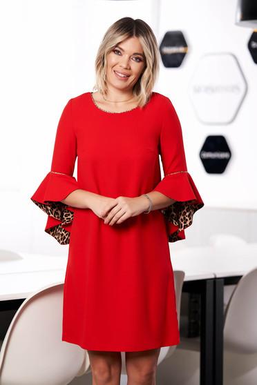 Piros StarShinerS elegáns rövid bő szabású ruha pólónyakkal háromnegyedes bővülő ujjakkal bélés nélkül