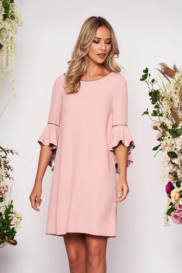 Púder rózsaszínű StarShinerS elegáns rövid bő szabású ruha pólónyakkal háromnegyedes bővülő ujjakkal bélés nélkül