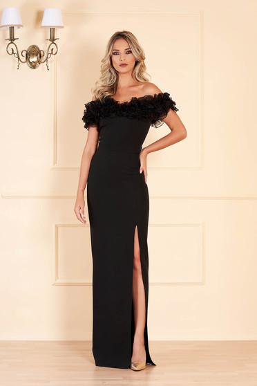 Fekete fodros alkalmi hosszú ruha vékony anyagból bélés nélkül